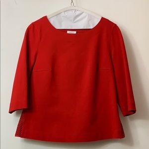 Akris Punto red 3 quarter sleeves blouse